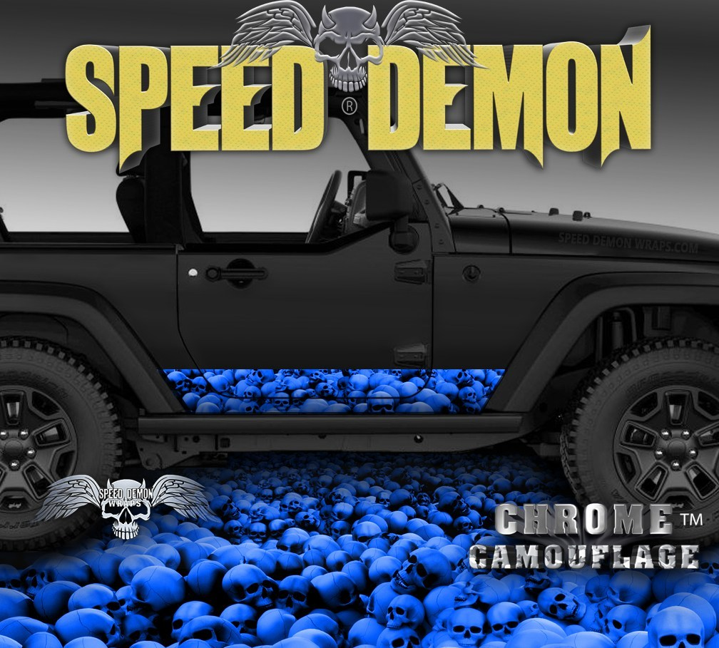 2007-2017 2 Door Jeep Wrangler Rocker Wrap SKULL CRUSHER Blue - Speed Demon Wraps