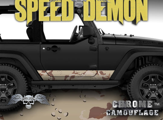 2007-2017 Jeep Wrangler Rocker Wrap Camo Desert Camouflage - Speed Demon Wraps