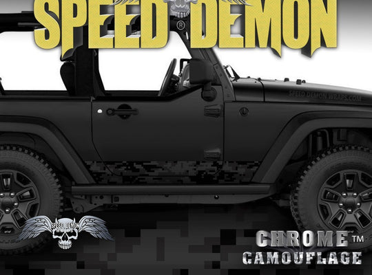 2007-2017 2 Door Jeep Wrangler Rocker Wrap Camo-Digital Black Camouflage - Speed Demon Wraps
