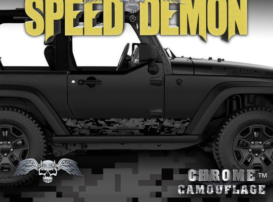 2007-2017 2 Door Jeep Wrangler Rocker Wrap Camo Digital Light Black - Speed Demon Wraps