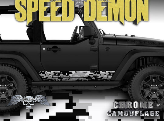 2007-2017 2 Door Jeep Wrangler Rocker Wrap Camo Digital Snow - Speed Demon Wraps