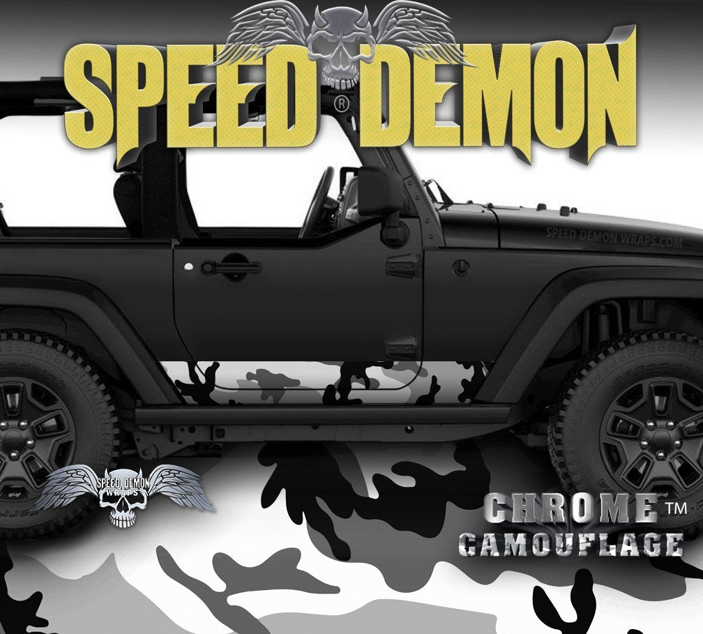 2007-2017 2 Door Jeep Wrangler Rocker Wrap Camo Urban Snow - Speed Demon Wraps