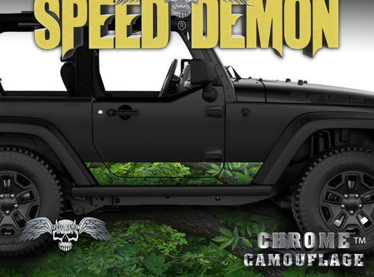 2007- 2017 2 Door Jeep Wrangler Rocker Wrap Camouflage True Forest Camo - Speed Demon Wraps