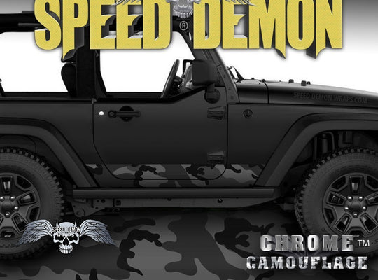 1997-2017 2 Door Jeep Wrangler Rocker Wrap Black Urban - Speed Demon Wraps