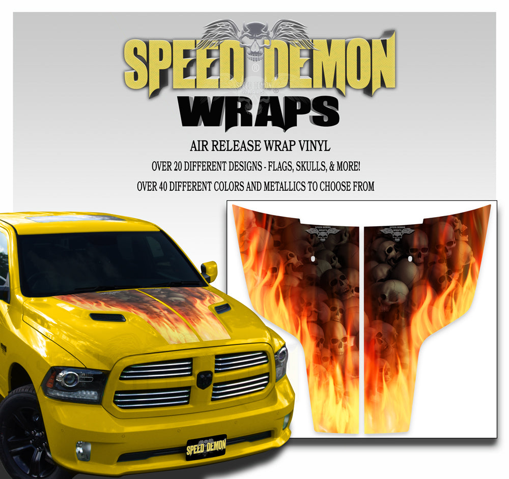 Dodge Ram Hood Stripes Flaming Skulls 2009-2017