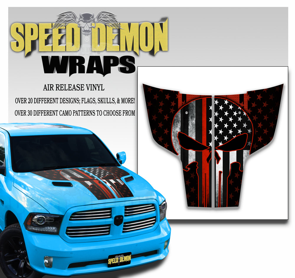 2009-2017 Dodge Ram Hood Stripes Decals Punisher American Flag Red Line