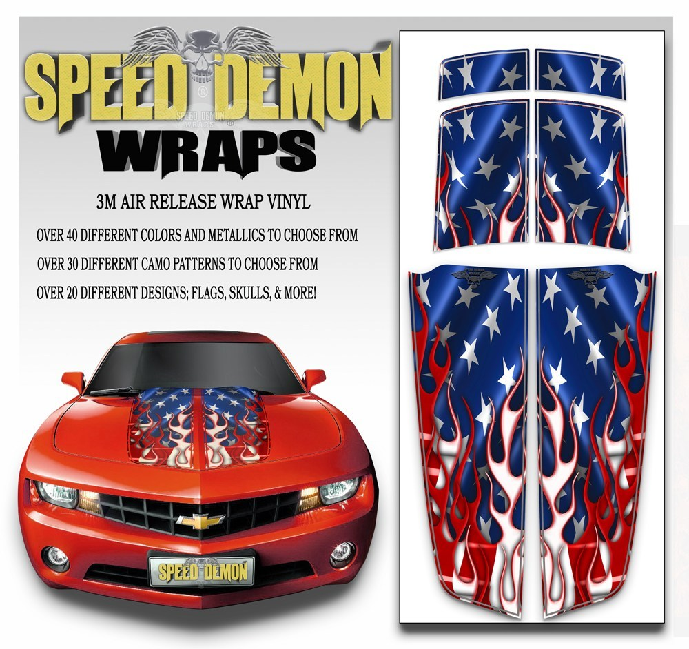 Camaro Stripes American Flag Kit  A 2010-2015 - Speed Demon Wraps