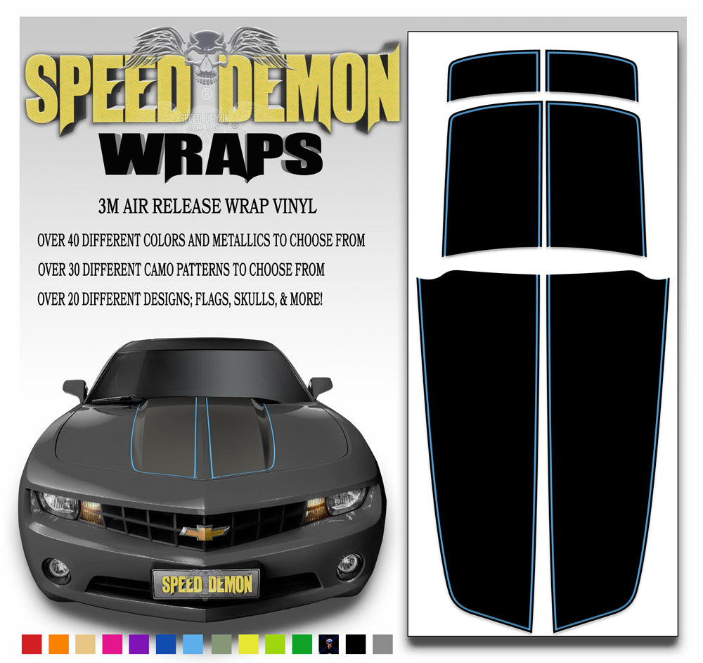 Black Camaro Stripes with Blue Pinstripe