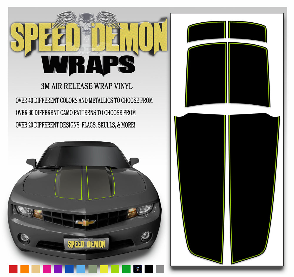 Black Camaro Racing Stripes with Bright Green Pinstripe