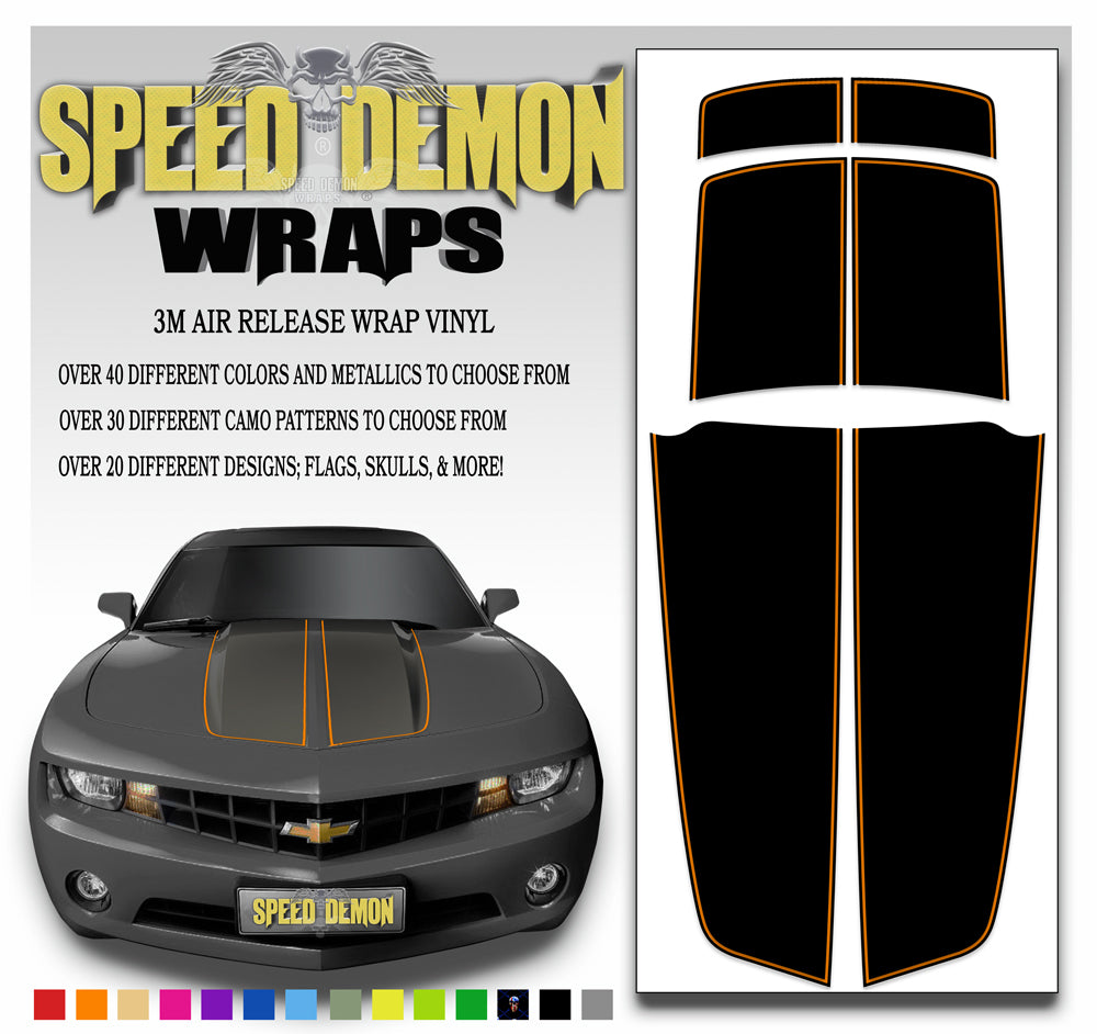 Black Camaro Racing Stripes with Orange Pinstripe