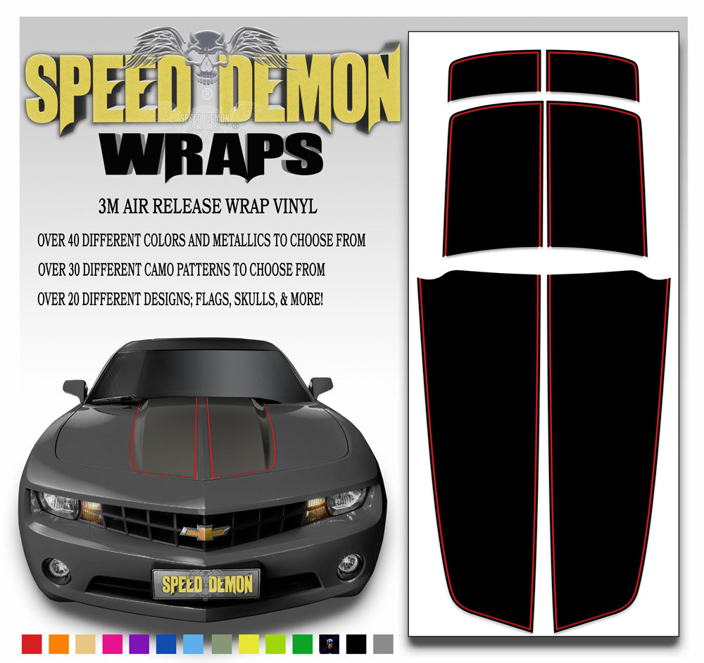 Black Camaro Stripes with Red Pinstripe