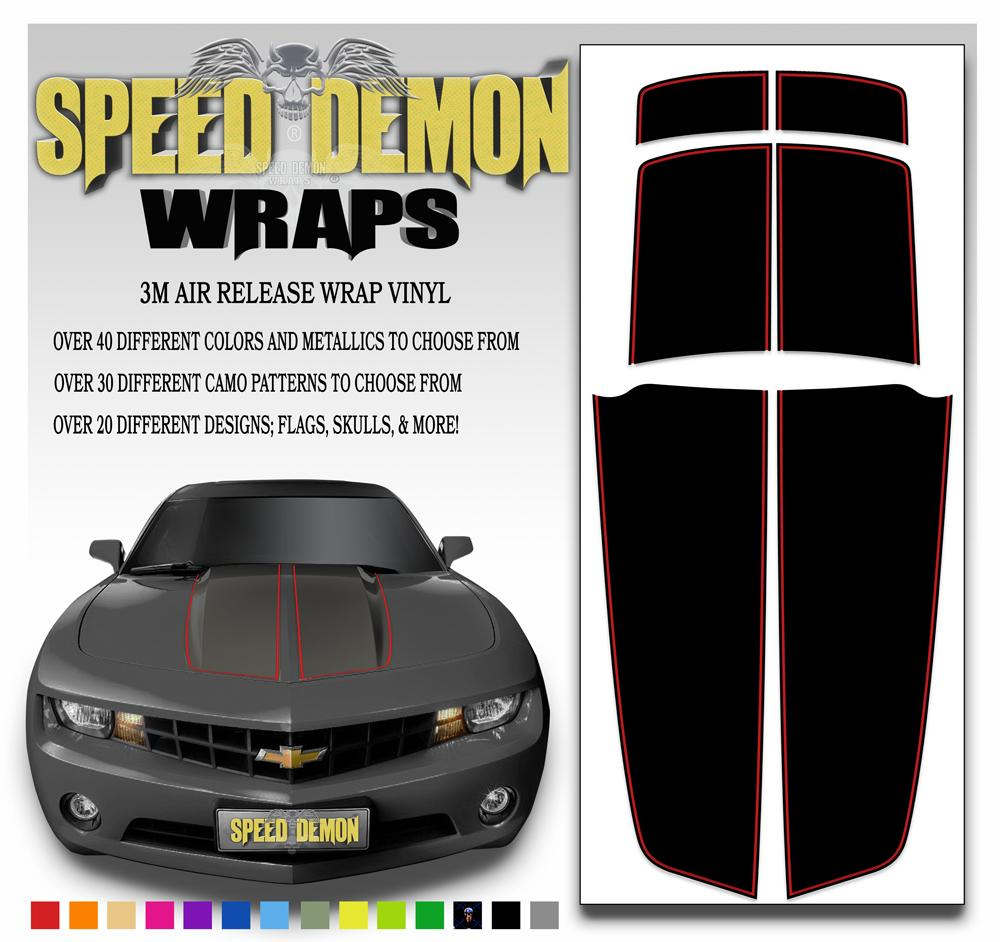 2010-2015 Black Camaro Stripes W/ Colored Pinstripe