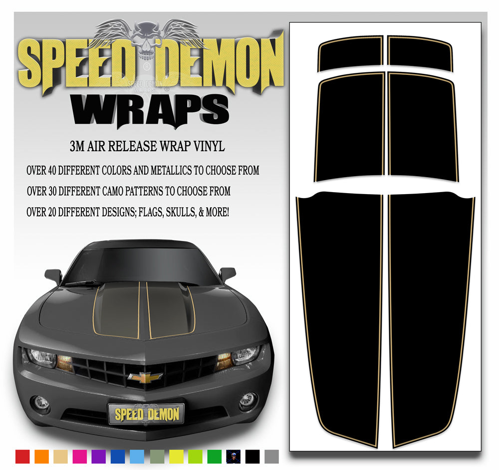 Black Camaro Racing Stripes with Tan Pinstripe