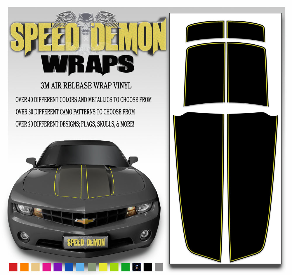 Black Camaro Racing Stripes with Yellow Pinstripe