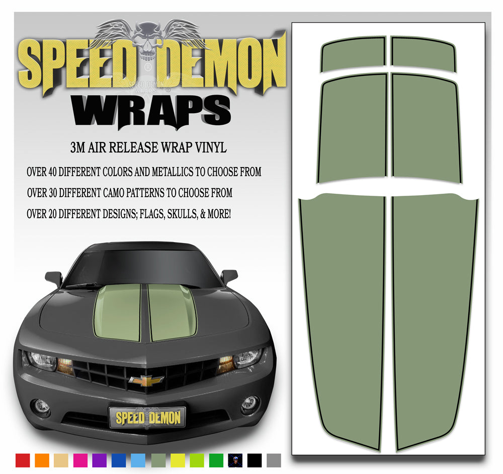 Camaro Stripes Army Green Black Pinstripe