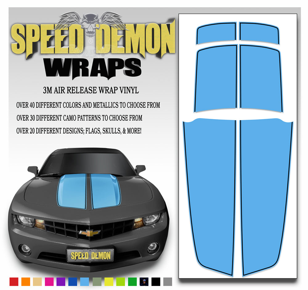Camaro Stripes with Black Pinstripes Light Blue