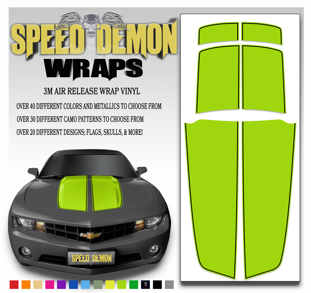 Camaro Stripes Bright Green with Black Pinstripe