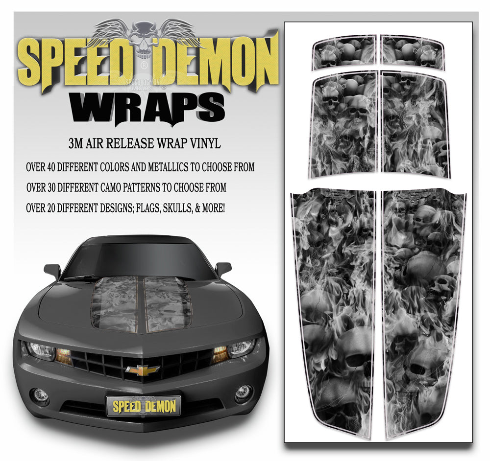 Black White Camaro Stripes Flaming Skulls