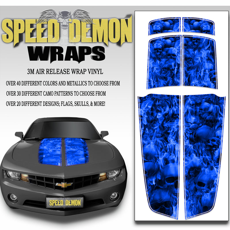 Blue Camaro Racing Stripes Flaming Skulls