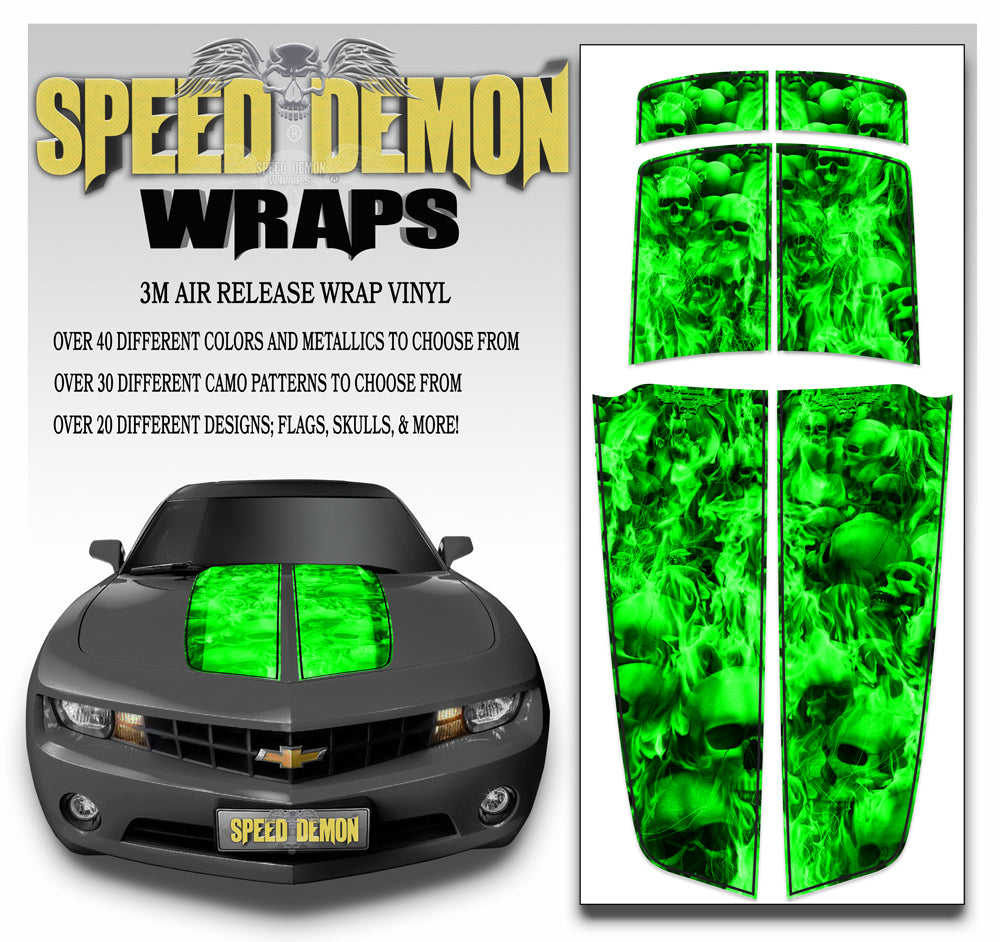 Green Camaro Stripes 2010-2015 Flaming Skulls bl