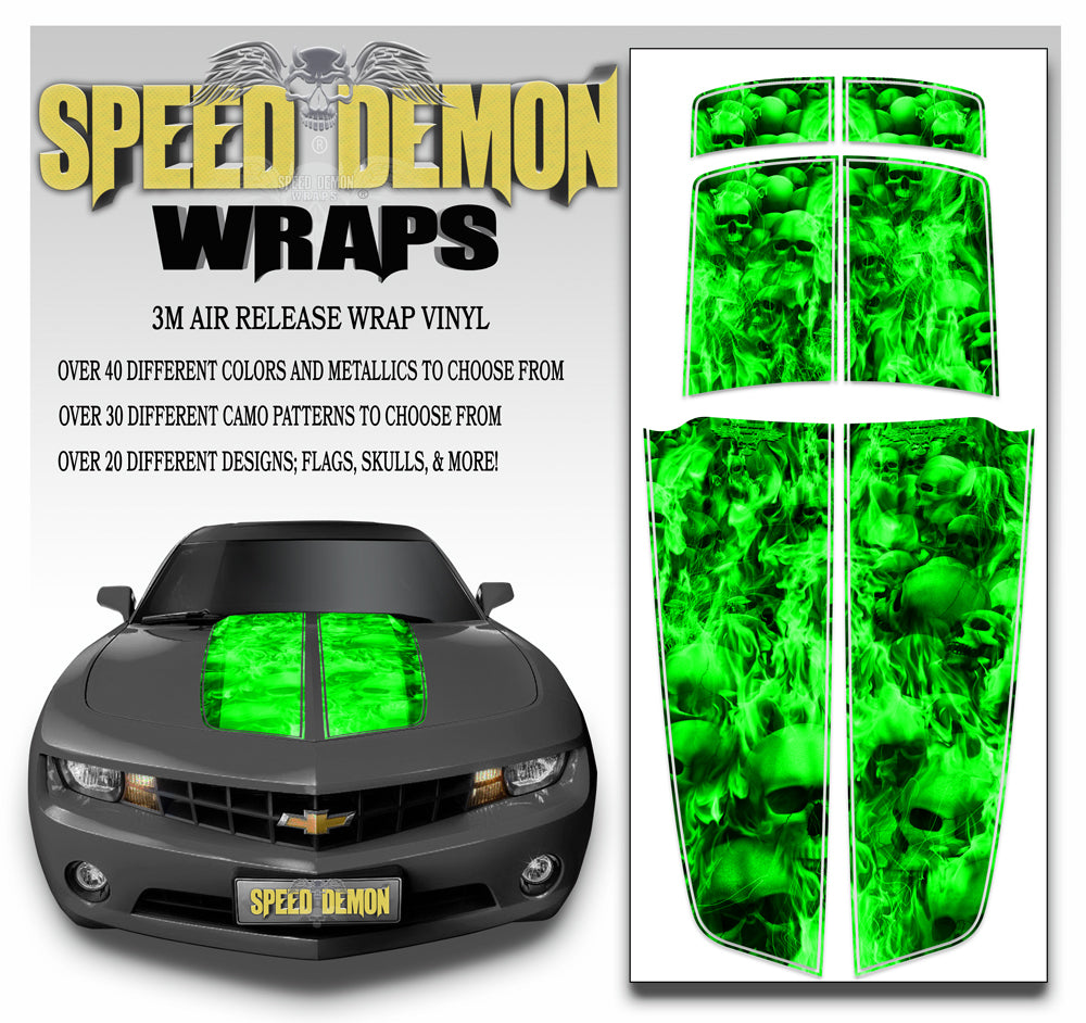 Camaro Racing Stripes FLAMING SKULLS GREEN 2010-2015