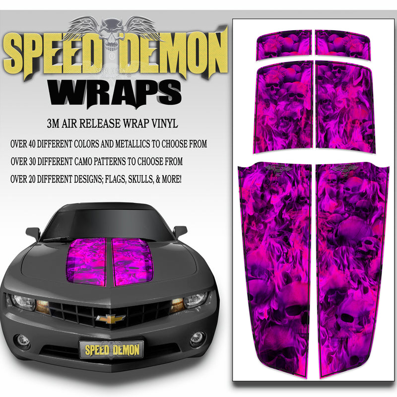 Fuschia Flaming Skulls 2010-2015 Camaro Racing Stripes bl