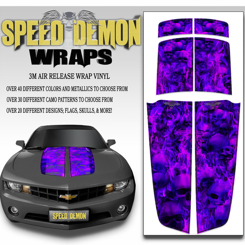 Camaro Racing Stripes FLAMING SKULLS Purplish Blue w/ Black Pinstripes 2010-2015