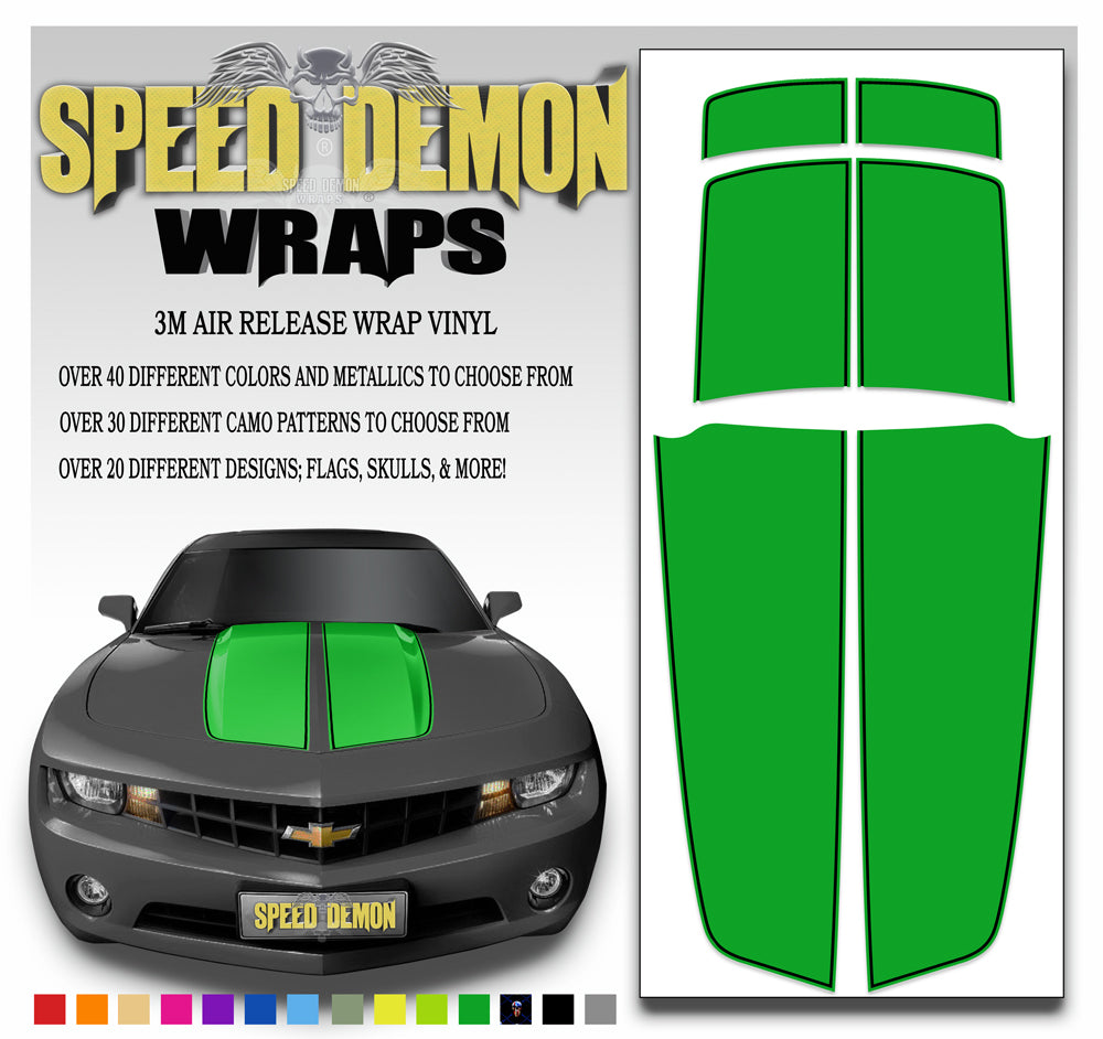 Camaro Stripes Green with Black Pinstripe