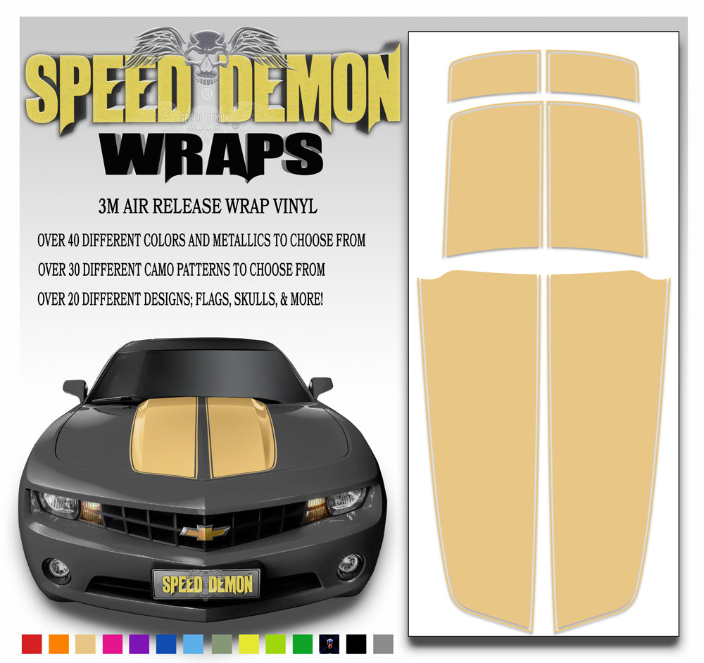 Camaro Stripes Tan with Orange Pinstripe