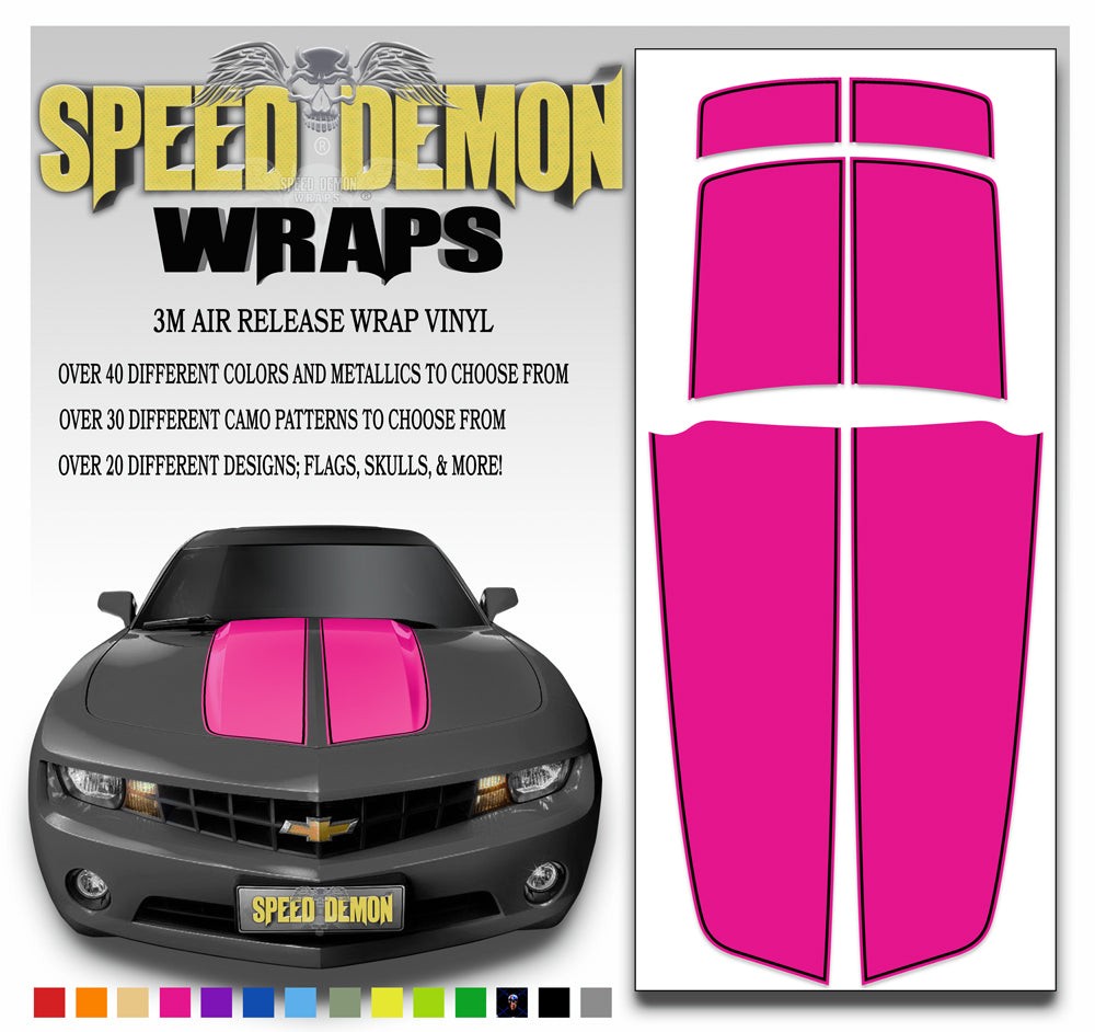Camaro Stripes Pink with Black Pinstripe