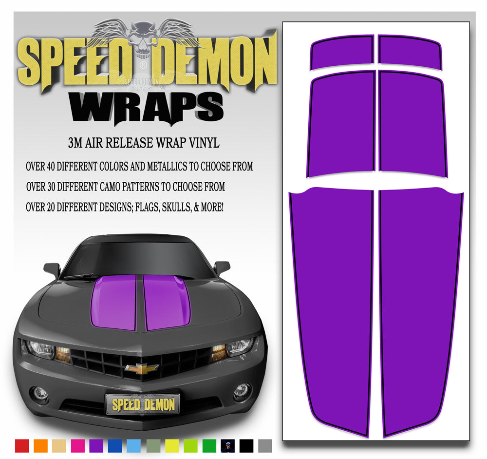Camaro Stripes Purple with Black Pinstripe