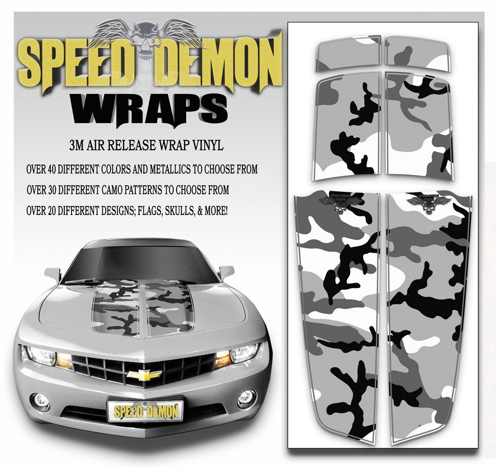 Camaro Camo Stripes Snow Urban Camouflage 2010-2015 - Speed Demon Wraps