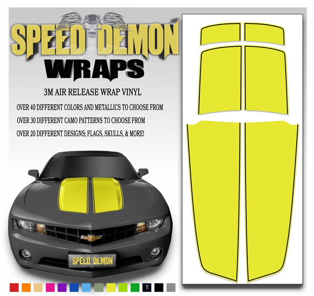 Camaro Stripes Yellow with Black Pinstripe