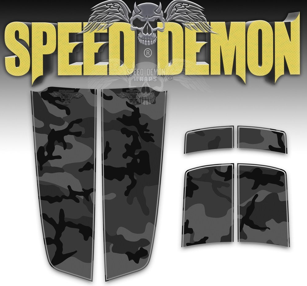 Camaro Camo Stripes Black Urban Camouflage 2010-2015 - Speed Demon Wraps