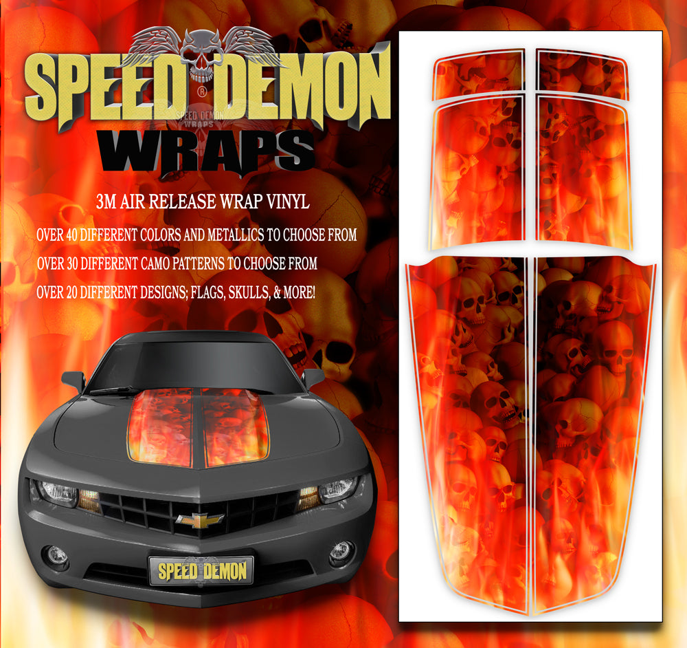 Camaro Stripes Flaming Skulls