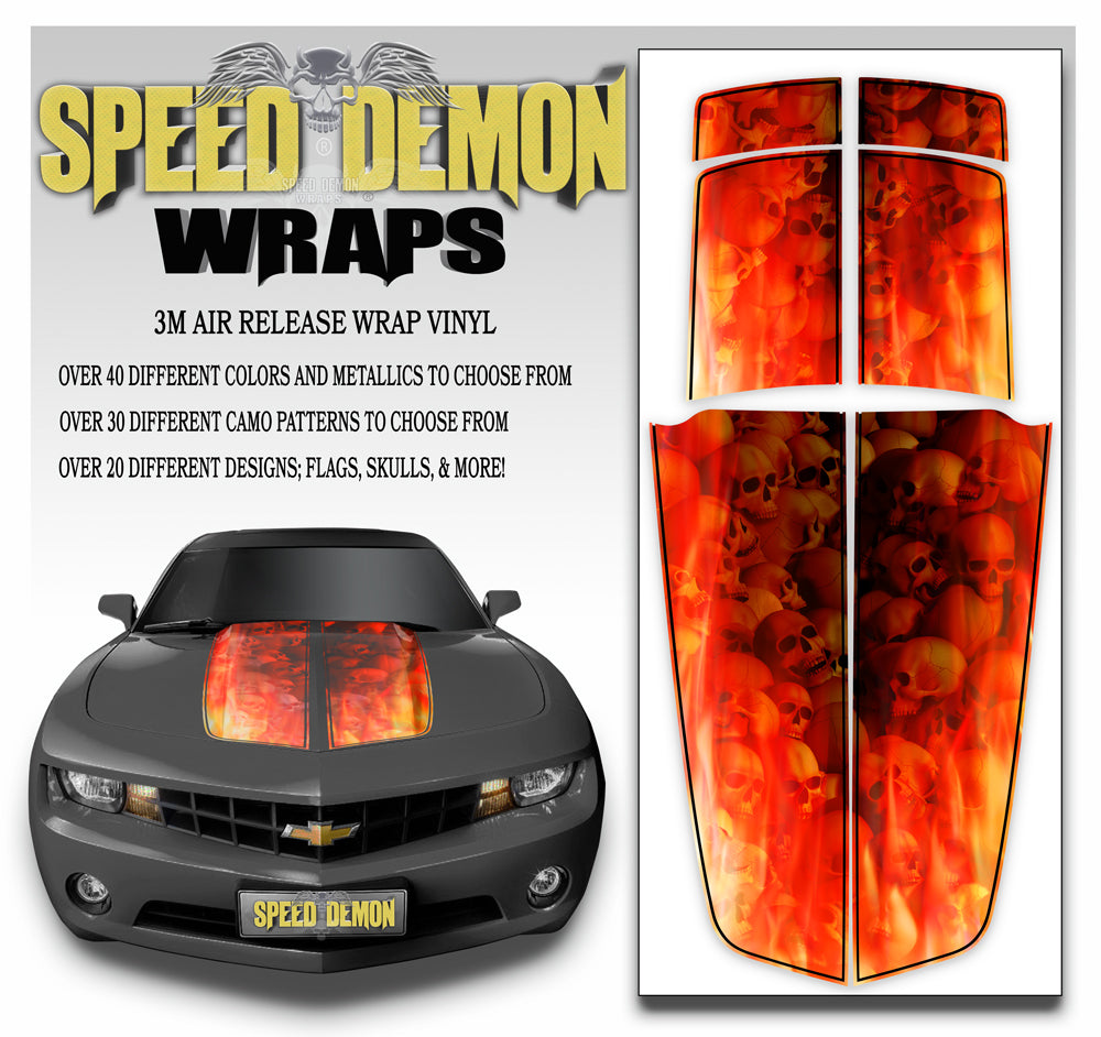 Camaro Stripes Flaming Skull 2010-2015