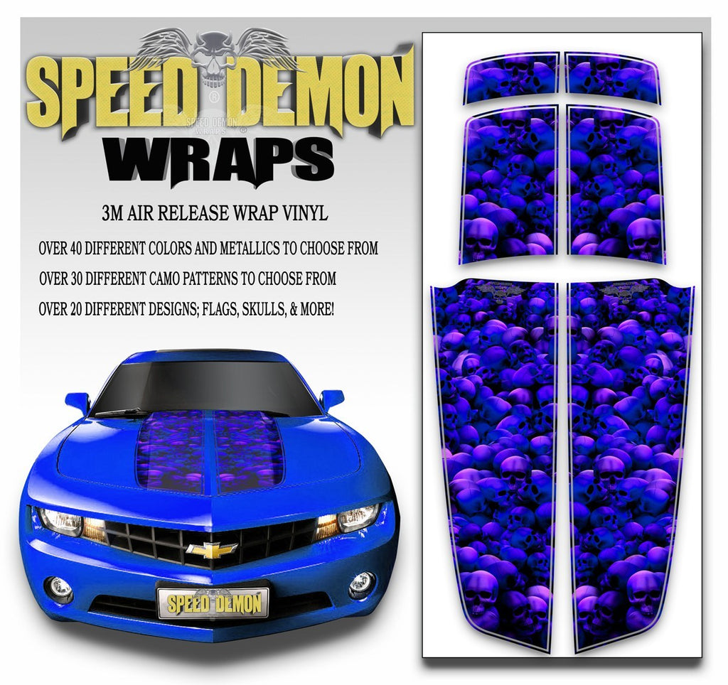 Camaro Racing Stripes UNHALLOWED GROUND SKULLS Blue Purple Hue 2010-2015 - Speed Demon Wraps