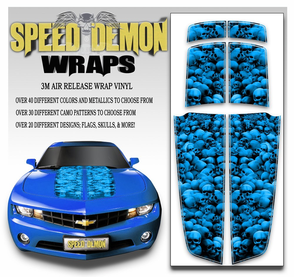 Camaro Racing Stripes UNHALLOWED GROUND SKULLS Blue 2010-2015 - Speed Demon Wraps