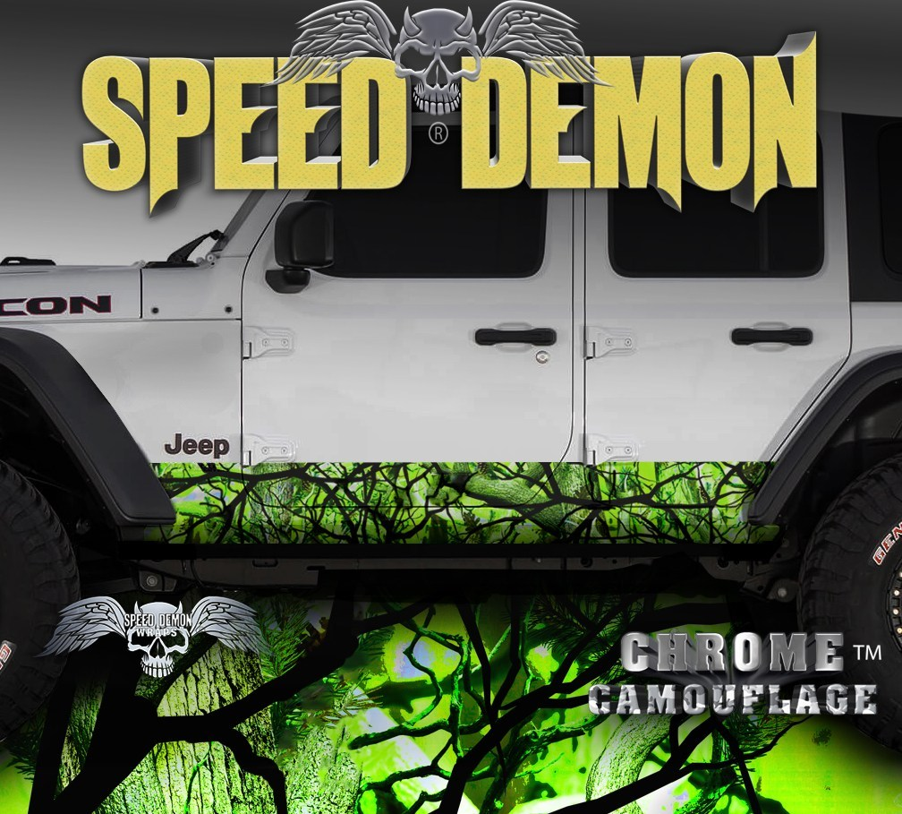 2007-2017 4 Door Jeep Wrangler Rocker Wraps Camouflage Zombie Bile Camo - Speed Demon Wraps