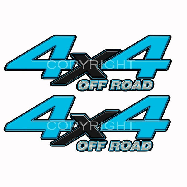 4X4 Truck Decals Lt Blue Blk X - Speed Demon Wraps
