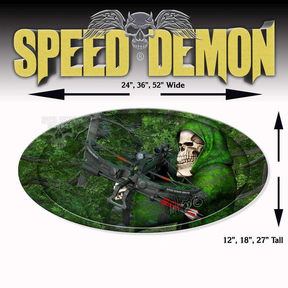 5th Wheel Trailer Graphics Bow-Reaper Forest Camouflage Oval - Speed Demon Wraps