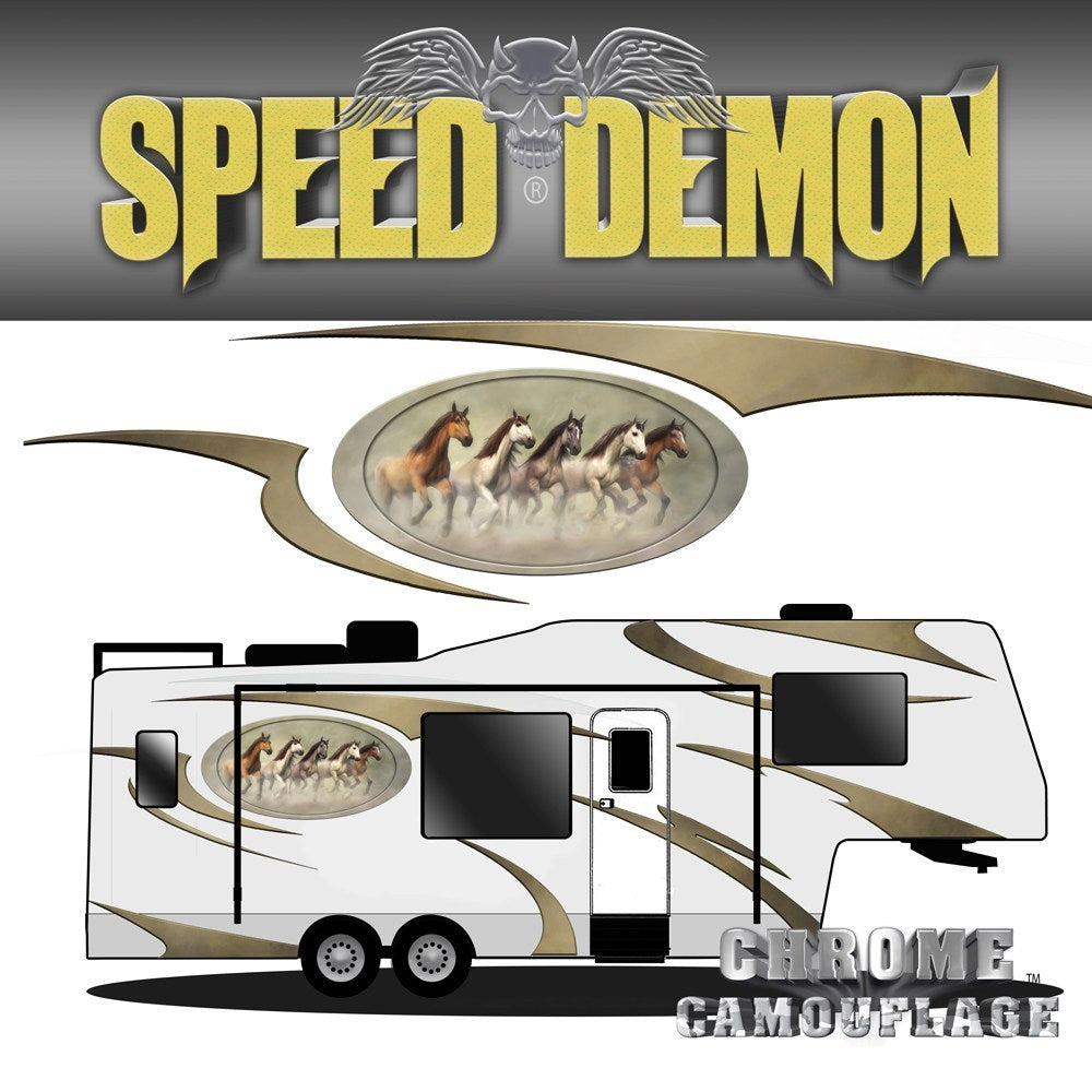 5th Wheel Trailer Graphics Wild Mustangs - Speed Demon Wraps