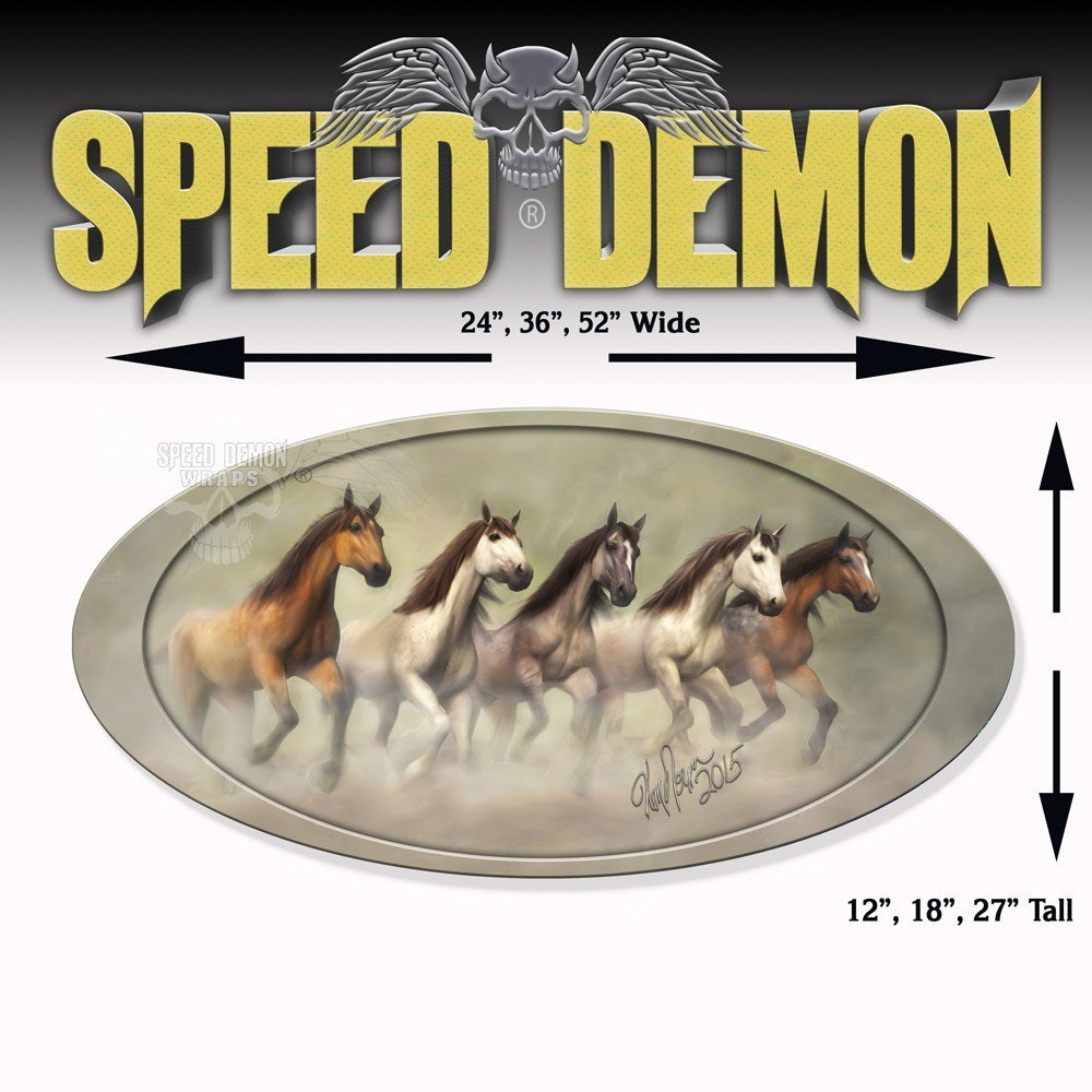 5th Wheel Trailer Graphics Wild Mustangs Oval - Speed Demon Wraps