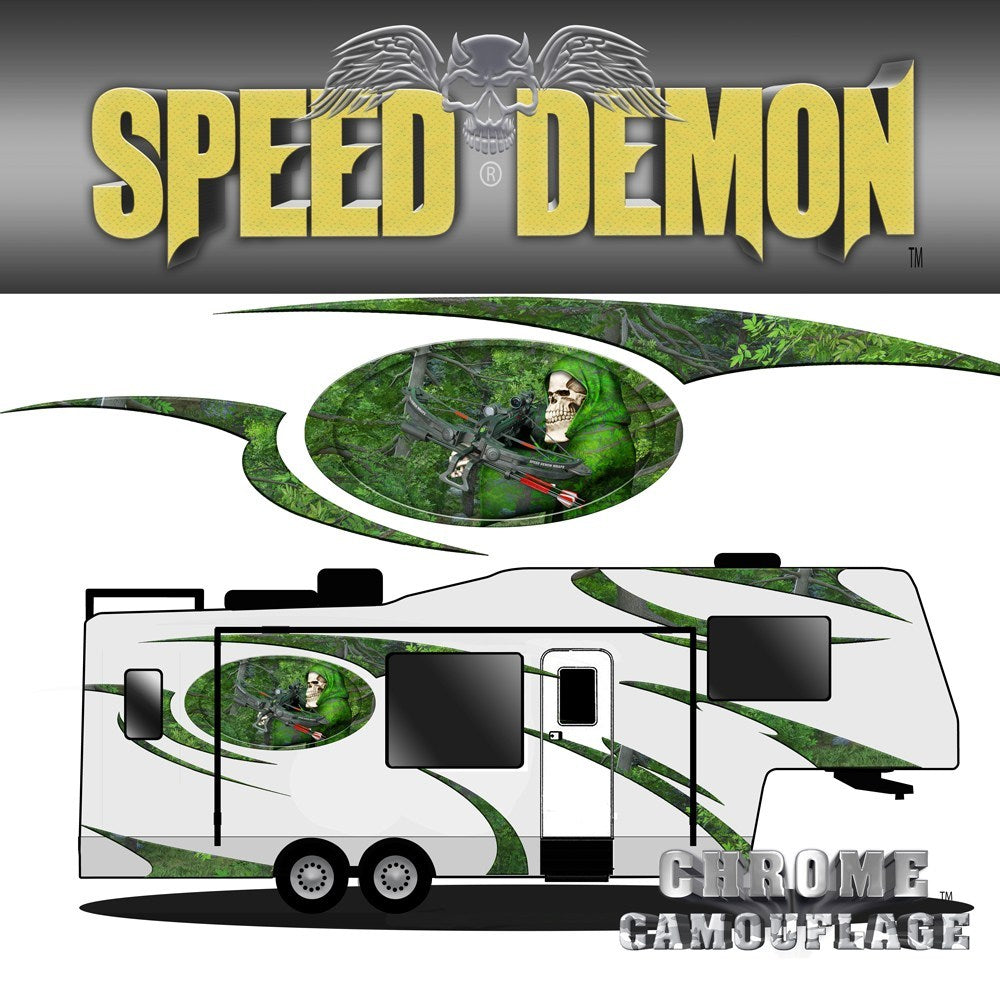 5th Wheel Trailer Graphics Kit Bow Reaper Camo Forest - Speed Demon Wraps