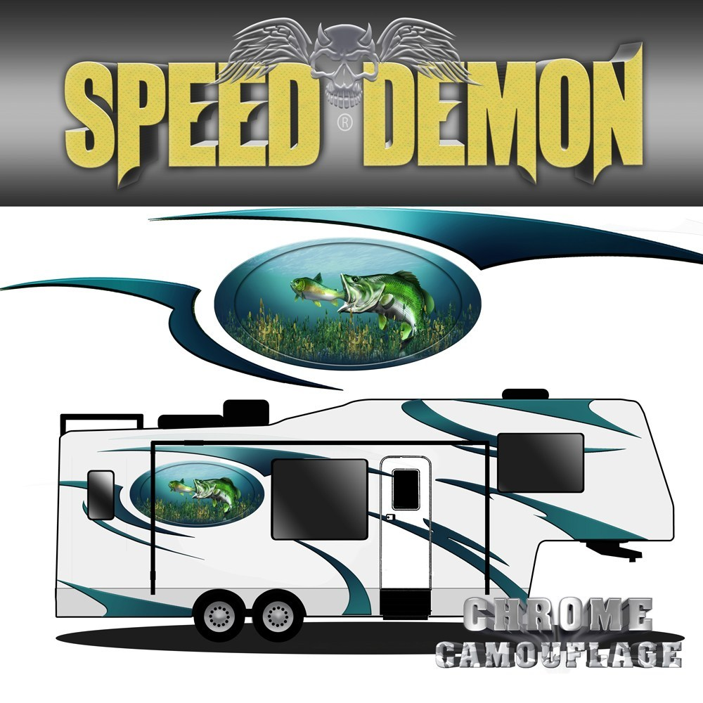 5th Wheel Trailer Large Mouth Bass Graphics - Speed Demon Wraps