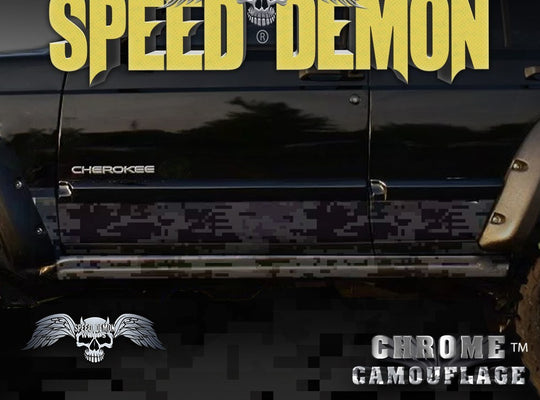 1993-2008 Jeep Cherokee Rocker Panel Wraps Camouflage Black Digital  Camo - Speed Demon Wraps