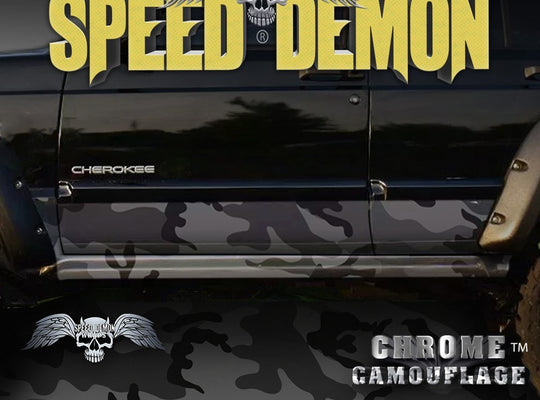 1993-2008 Jeep Cherokee Rocker Panel Wraps Camouflage Black Urban Camo - Speed Demon Wraps