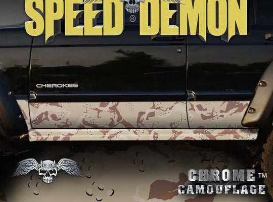 1993-2008 Jeep Cherokee Rocker Panel Wraps Camouflage Desert Camo - Speed Demon Wraps