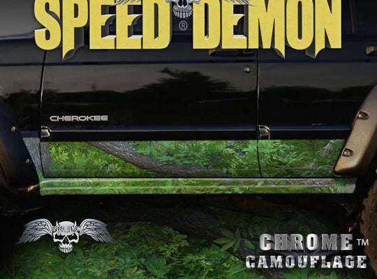 1993-2008 Jeep Cherokee Rocker Panel Wraps Camouflage Forest Camo - Speed Demon Wraps