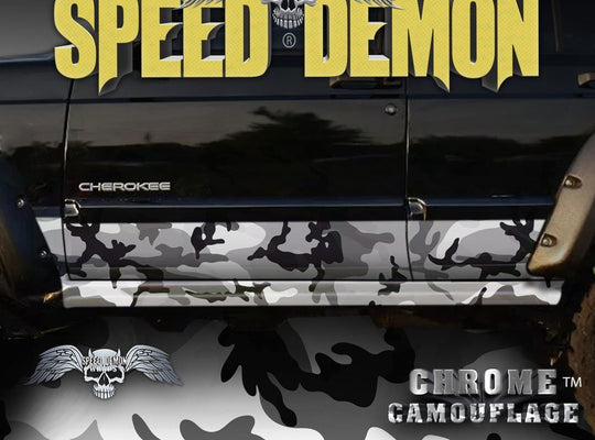 1993-2008 Jeep Cherokee Rocker Panel Wraps Camouflage Snow Urban Camo - Speed Demon Wraps